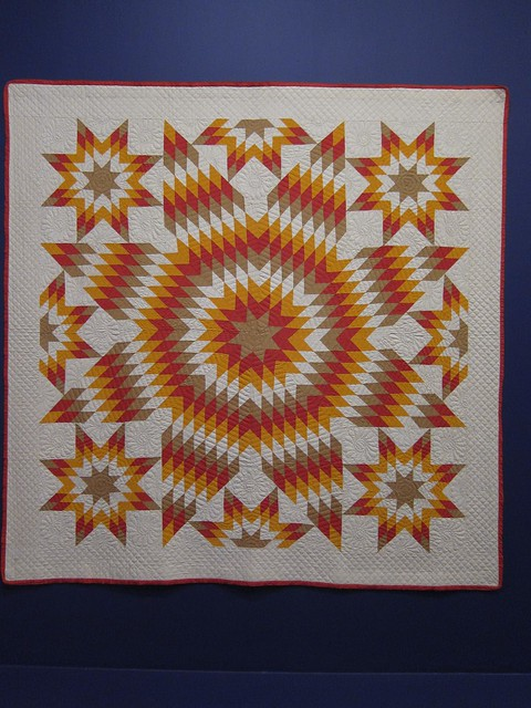 Star of Bethlehem with Satellite Stars quilt 1930-1950