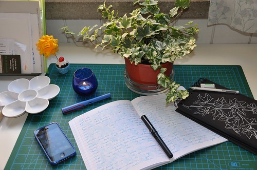 Writing and drawing in my studio.