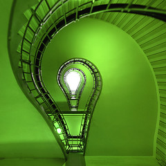 ecological bulb (Alt_Gr *busy* www.nilseisfeld.de) Tags: light bulb stairs spiral stair dof treppe staircase escaleras abstrakt glhbirne treppenhaus enlightment erleuchtung gettygermanyq4