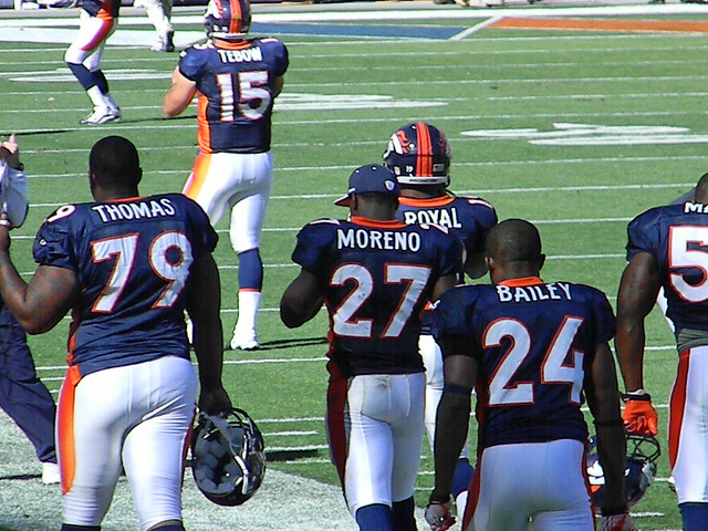 Marcus Thomas, Tim Tebow, KNOWSHON MORENO, Eddie Royal, and Champ Bailey