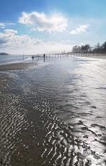 Sand Waves (floralgal) Tags: ocean light seascape reflection beach water landscape slick path lowtide dramaticsky longislandsound oaklandbeach ryenewyork sandlines westchestercountynewyork