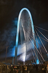 Smoke and Colored Lights (Pooua) Tags: dallas texas margarethunthillbridge