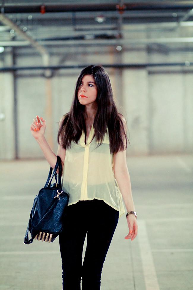 Sheer Blouse, Balenciaga platforms sandals, Alexander Wang Rocco duffel bag, Fashion outfit