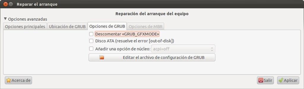 Opciones Grub - Boot Repair