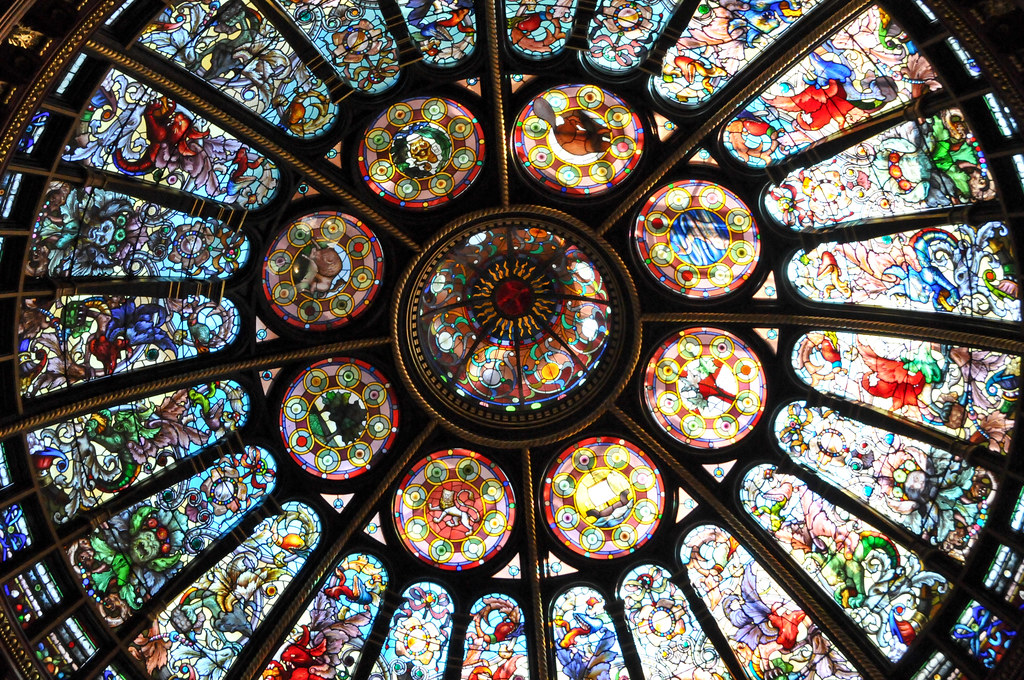 Stained Glass Dome Ceiling at the Great Hall at Hockey Hall of Fame - Toronto Ontario Canada