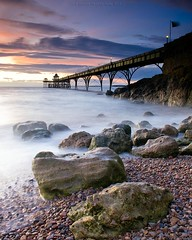 s u n s e t (Scott Howse) Tags: uk longexposure sunset england sky water clouds coast pier rocks somerset lee filters clevedon 12nd 09h
