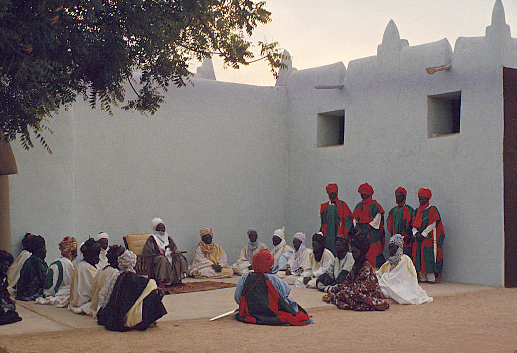 The Emir of Katsina, Sir Alhaji Usman Nagogo, holding a morning greeting ceremony, Katsina, Nigeria 1959. eepa_16278
