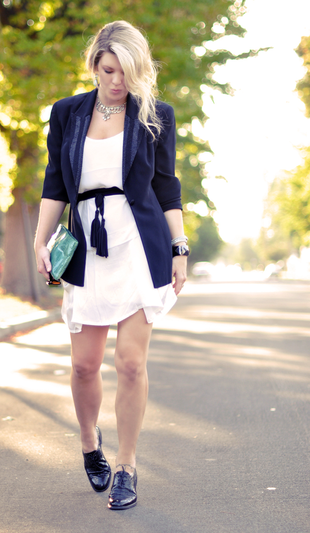 white silk dress-black blazer with beaded lapels-oxfords-shoes