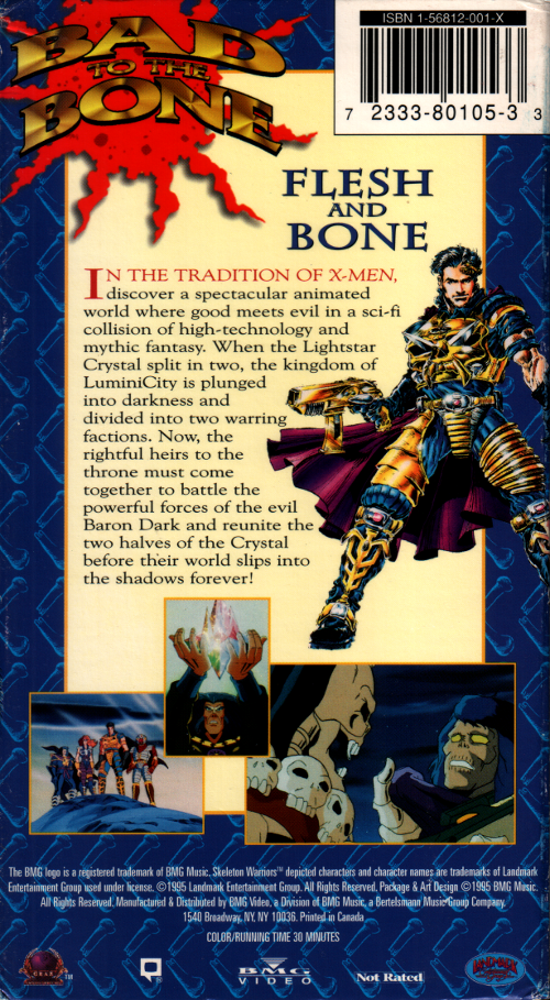 Skeleton Warriors Flesh and Bone VHS back cover