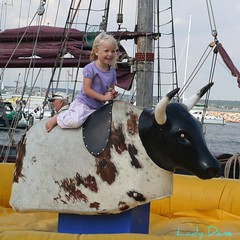 Joy...... (Lady Dane (will never catch up)) Tags: summer sun girl denmark boats warm harbour happiness steer danmark picnik ebeltoft ladydane