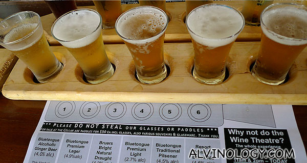 A useful fact sheet detailing the unique notes of each beer
