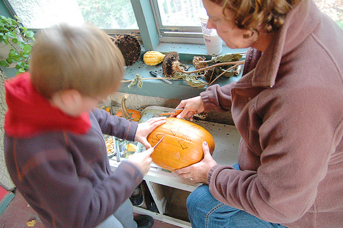 day 2660: pumpkin carving with grandma. I.