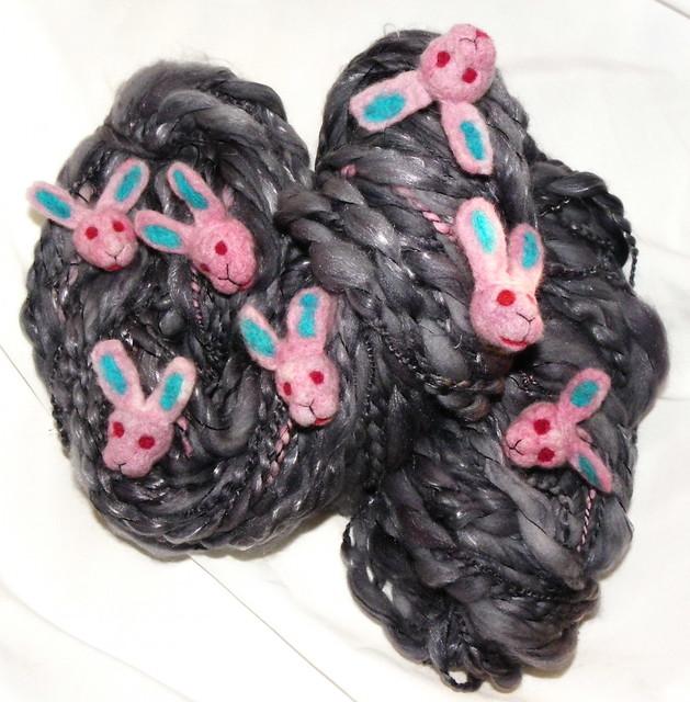 Morticia Black Zombie bunny art yarn