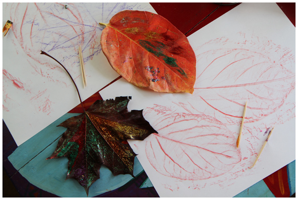 Leaf rubbings and glitter painting