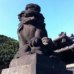 狛犬探訪 太田神社 阿吽とも子連れ 明治24年3月建立とある