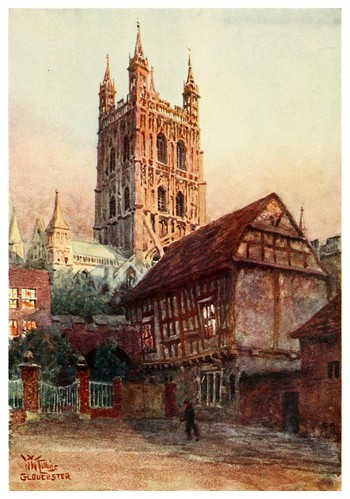 019-Catedral de Gloucester y antiguo parlamento- Cathedral cities of England 1908- William Wiehe Collins