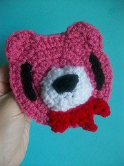 Bloody Gloomy Bear hair clip (Mooy) Tags: pink cute animal crochet kawaii gloomybear hairclip