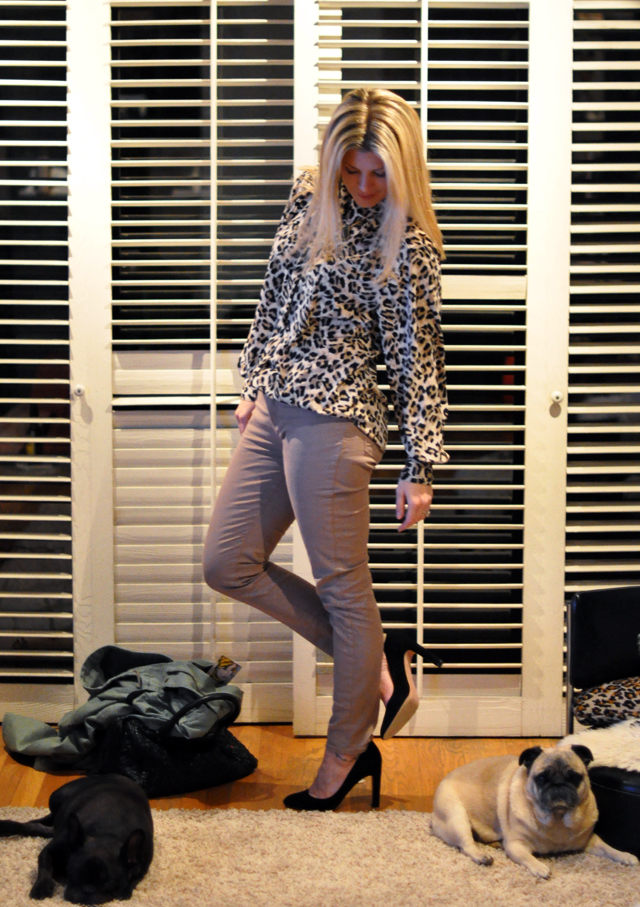j brand taupe city jeans  -leopard blouse