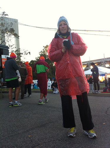 Sonja wearing several layers before the start of the New York Marathon