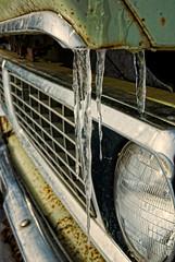 Crying Cripple (Wayne Stadler Photography) Tags: winter snow canada abandoned ice rural truck season frozen dusk farm grill homestead headlight icicles