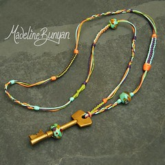 """Purple orange and green Bead on a Key Necklace • <a style=""""font-size:0.8em;"""" href=""""https://www.flickr.com/photos/37516896@N05/6323203763/"""" target=""""_blank"""">View on Flickr</a>"""