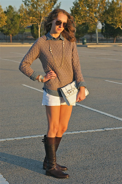 Sweater denim shirt and shorts outfit