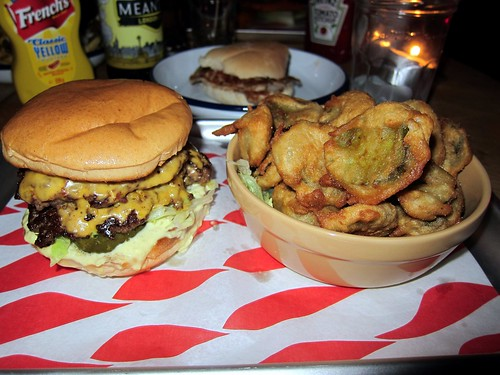 Dead Hippie Burger and Deep Fried Pickles