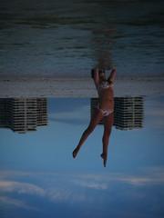 259 (sarafleiszig) Tags: beach water sand friend upsidedown florida sunsetting marcoisland