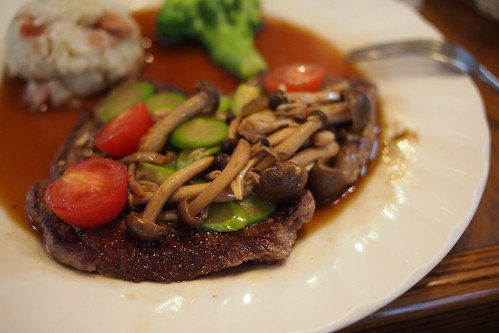 牛肉のしめじアスパラソース