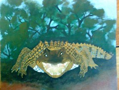 Rod Lucas, Croc (ABC Open North West Queensland) Tags: west artist gulf north paintings lucas campfire queensland rod indigenous carpentaria karumba outbacklandscape outbackartist