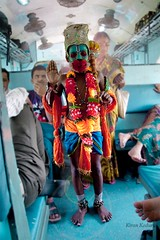 The not so usual traveler (Kiran K.) Tags: travel blue kids train portraits hanuman mumbai ram travelers surat monkeygod indiantrains ramayan mumbaitrain