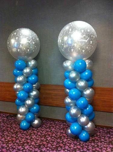 Ballonpilaar Breed Rond Turqoise Zilver met Zilveren Just Married Flowers Topballon