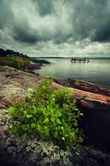 Bush (- David Olsson -) Tags: greenleaves lake nature water clouds landscape bush nikon cloudy sweden sigma cliffs karlstad 1020mm 1020 tye vnern hammar vrmland lakescape d5000 davidolsson tyns 2exposuremanualblend