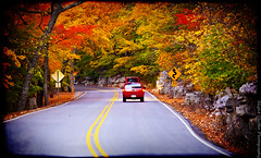 Leaving Monte Sano (slight clutter) Tags: road autumn trees sunset fall drive huntsville alabama foliage