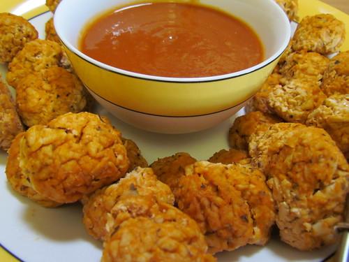 Smoked Tofu Balls with Spicy Mango BBQ Sauce