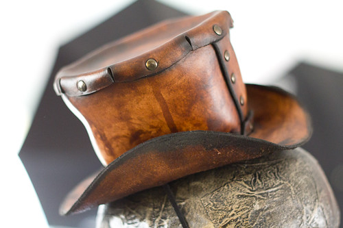 Brown Mini Leather Handmade Top Hat