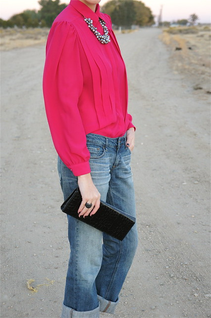 Hot pink blouse with jeans
