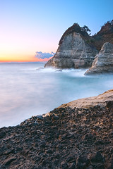 The stormy seas in dusk (-TommyTsutsui- [nextBlessing]) Tags: longexposure blue autumn light sunset sea sky orange seascape nature rock japan clouds landscape nikon dusk magic tide scenic wave shore      izu  landform   nishiizu sigma1020 stormysea  onsalegettyimages