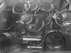 Glassware (brotherM) Tags: blackandwhite glass reflections lab chaos maine science pile laboratory grainy jars containers measuring filmgrain beakers glassware 200ml salisburycove mdibl