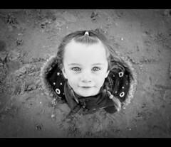 Up. Crosby (Ianmoran1970) Tags: beach girl mouth stars nose mono eyes sand looking daughter messy crosby ianmoran ianmoran1970