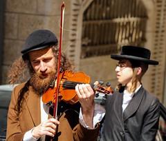 The Klezmer (ybiberman) Tags: portrait playing man hat israel jerusalem purim violin ultraorthodox meashearim payot diamondclassphotographer flickrdiamond