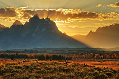 "Grand Teton Sunset with western buck rail fence (IronRodArt - Royce Bair (""Star Shooter"")) Tags: park travel sunset usa sunlight mountain yellow america fence landscape gold golden bravo scenic rail grand national western sunburst rays grandtetons teton heavenly inspiring grandtetonnationalpark naturesfinest wondersofnature buckrailfence buckrail"