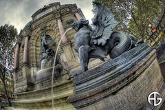 Fontaine Saint-Michel (A.G. Photographe) Tags: longexposure fish paris france nikon fisheye ag nikkor michel fontaine franais hdr parisian foutain anto saintmichel napolon photographe xiii parisien expositionlongue photomatix poselongue 16mmfisheye d700 hdr3raw antoxiii agphotographe