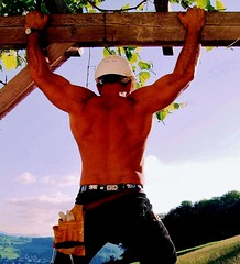 rugged swiss hunk (52 y.o.) before sunset (Farmerbaer) Tags: sunset hardhat beefy burly buff sturdy rugged brawny muscled bauarbeiter stocky zunfthose swissworker