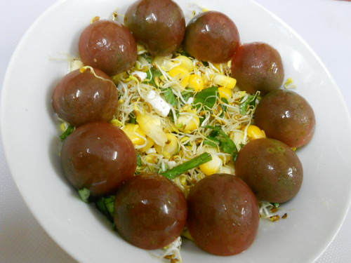 Salad with black cherry tomatoes by Bombay Foodie