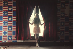 (yyellowbird) Tags: red wallpaper usa house selfportrait abandoned girl america flag velvet curtains cari