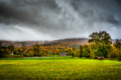 Gloomy Autumn Day (Nicholas Erwin) Tags: autumn trees red sky food orange green fall nature colors grass yellow lens photography high nikon vermont day gloomy dynamic cloudy farm g hay nikkor foilage range hdr waterbury 3518 galric d7000
