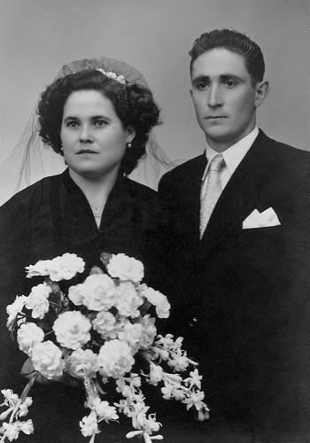 Retrato de boda de Jesus Magallon y Manuela Lapeña