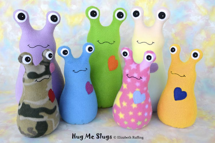 Fleece Hug Me Slugs, assorted colors, by Elizabeth Ruffing
