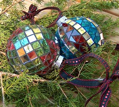 Christmas Ornaments (beaded glass) Tags: christmas bulb mosaic ornament
